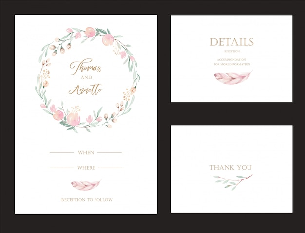 Set of invitation cards with watercolor flower protea and gold elements. Premium Vector