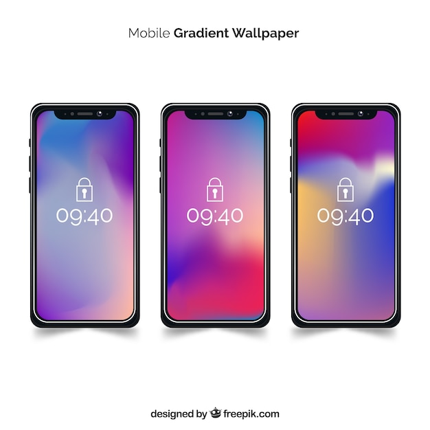 Set of iphone x with gradient wallpaper Free Vector