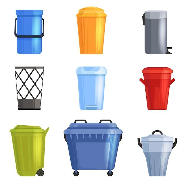 鉄やプラスチックのバケツ、ゴミ箱をセットします。孤立 Premiumベクター