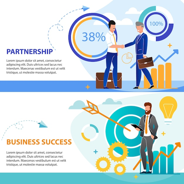 Set is written partnership and business success. Premium Vector