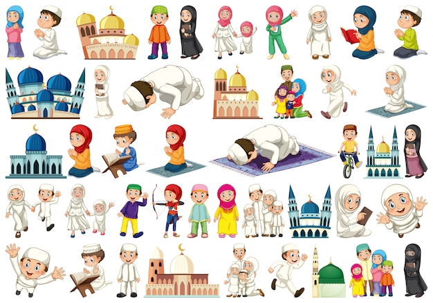 Set of islamic people Free Vector