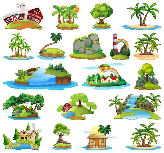 Set di natura isola Vettore gratuito