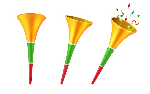 Set of isolated 3d party horns or cartoon soccer trumpet with confetti Premium Vector