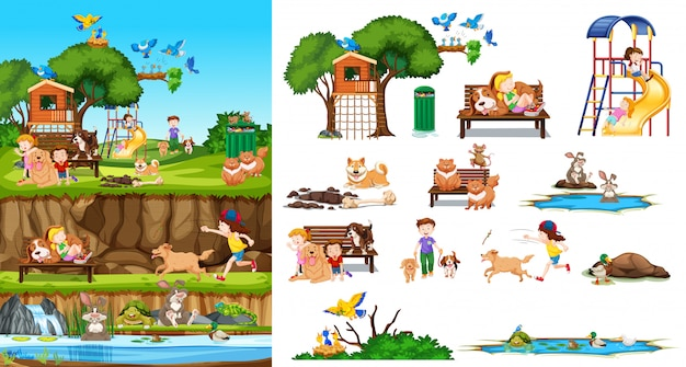 Set of isolated animals and kids with background scene Free Vector