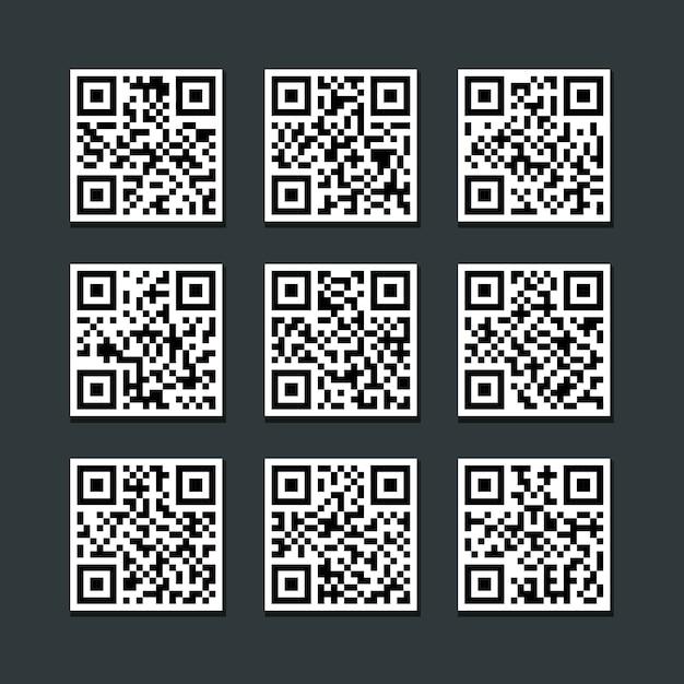 Set of isolated barcode qr code label vector Premium Vector
