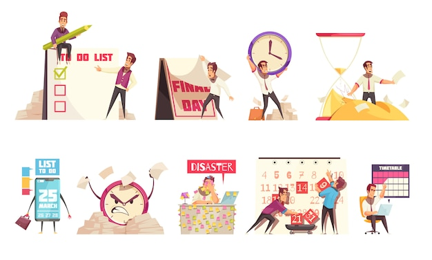 Set of isolated cartoon compositions on theme of time management planning schedule timetable and deadline Free Vector