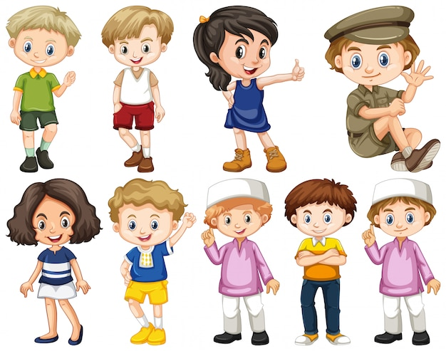 Set of isolated children in different actions Free Vector