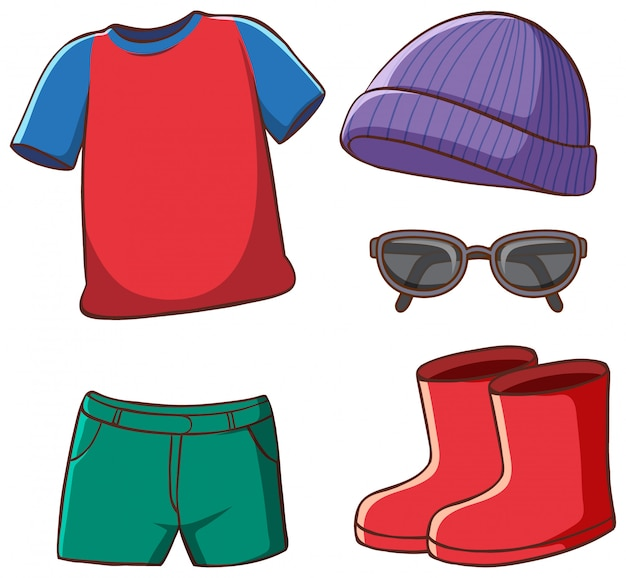 Set of isolated clothes Free Vector