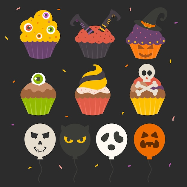 Set of isolated cute halloween cake Premium Vector