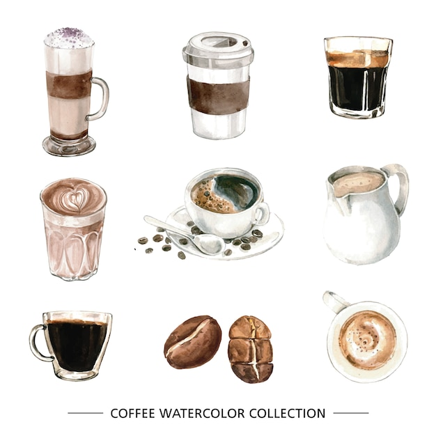 Set of isolated elements of watercolor coffee Free Vector