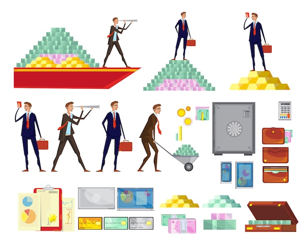 Set of isolated financial wealth cartoon images of clerk characters cash pyramids safe boxes and sui Free Vector