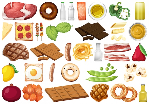 Set of isolated food Premium Vector