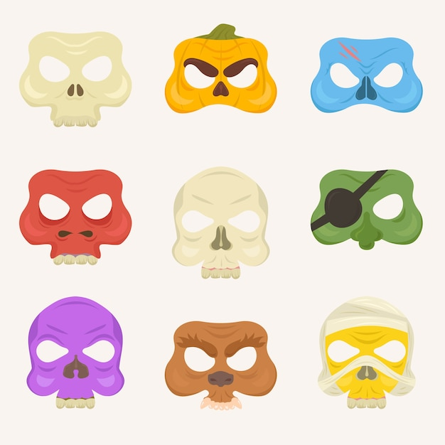 Set of isolated halloween mask. Premium Vector