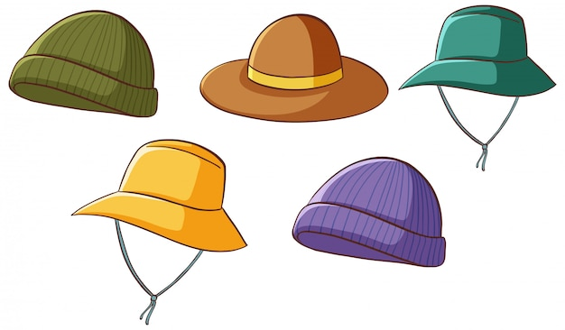 Set of isolated hats Free Vector