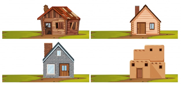 Set of isolated house Premium Vector