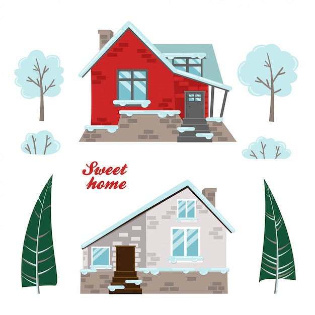 Set of isolated houses Premium Vector