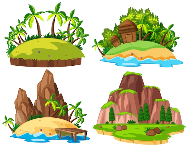 Set of isolated island Premium Vector