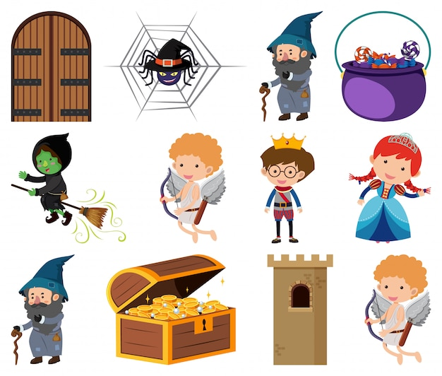 Set of isolated objects theme fairytales Premium Vector