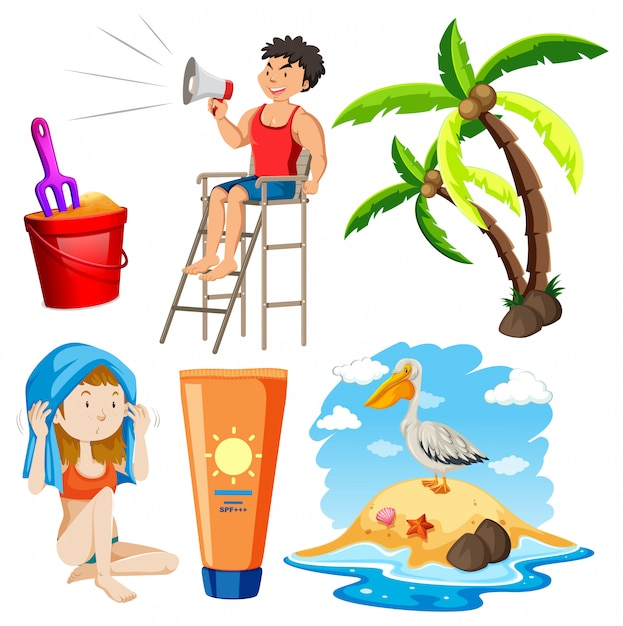Set of isolated objects theme summer holiday Free Vector