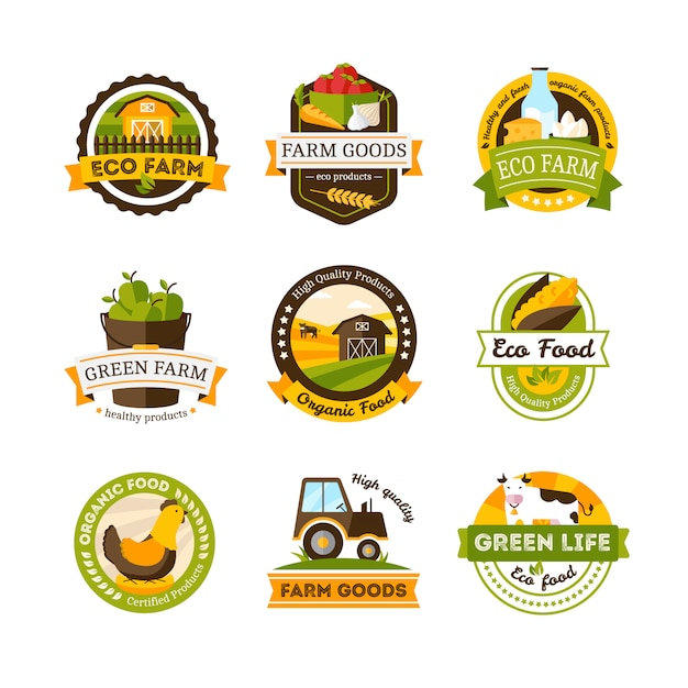 Set of isolated organic food farm emblems or labels set Free Vector