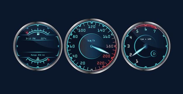 Set of isolated realistic dashboard speedometers. Premium Vector