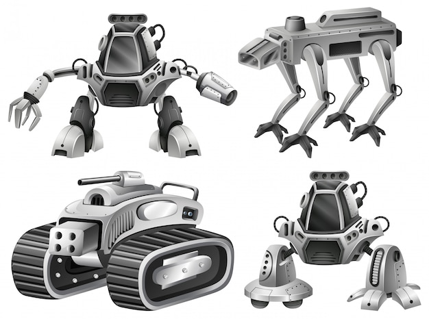 A set of isolated robot Free Vector