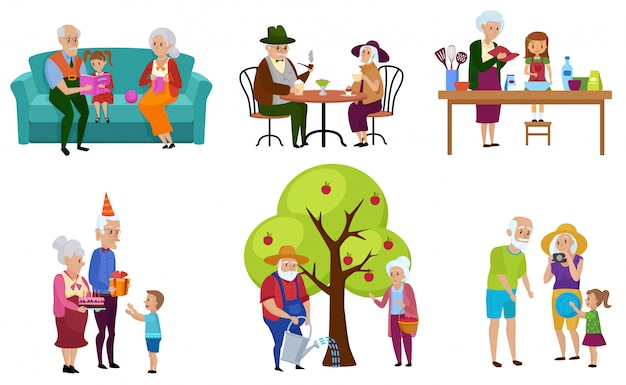 Set of isolated senior people and their grandchildren characters doing activities. Premium Vector