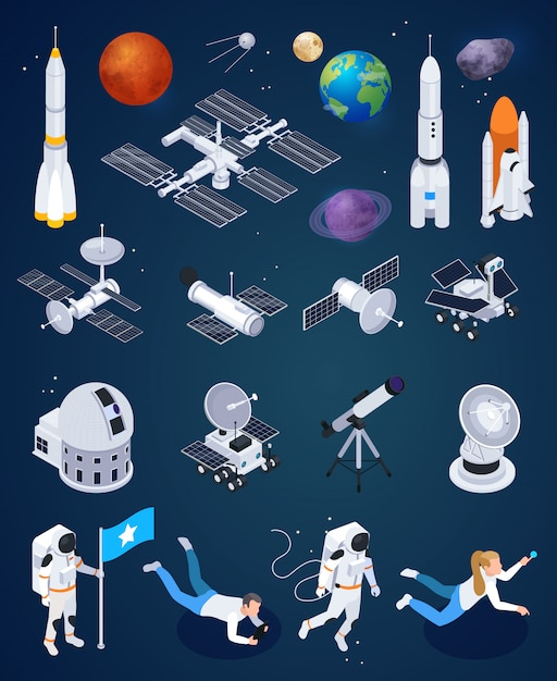 Set of isolated space exploration icons with realistic rockets artificial satellites and planets with human characters vector illustration Free Vector