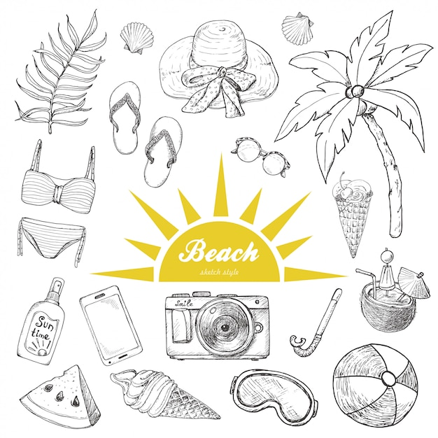 Set of isolated summer objects Premium Vector