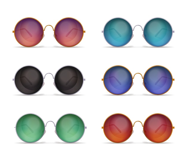 Set of isolated sunglasses realistic images with six different models of colourful round shaped sun goggles Free Vector