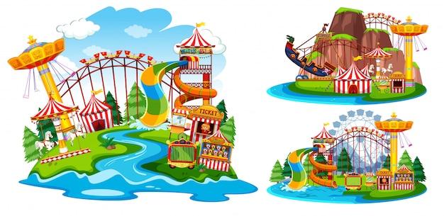 Set of isolated theme park Premium Vector
