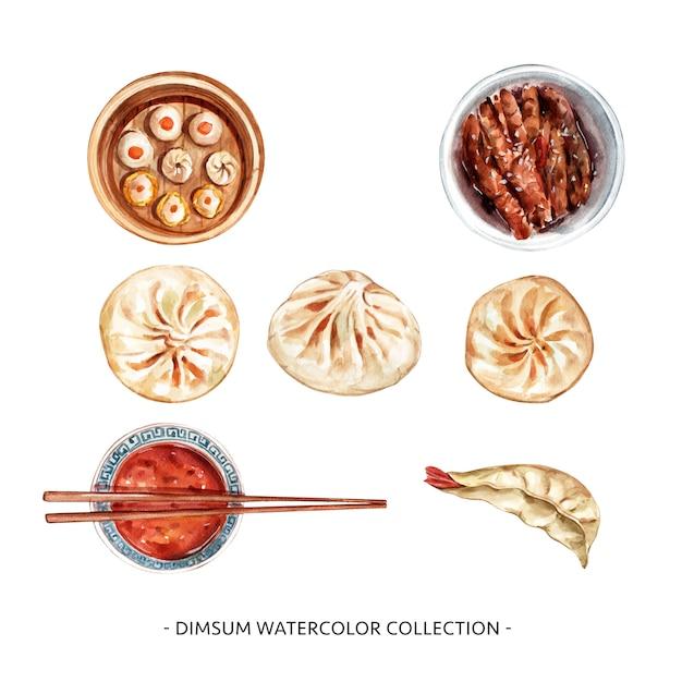 Insieme della bacchette isolata dell'acquerello, illustrazione cotta a vapore del panino per uso decorativo. Vettore gratuito