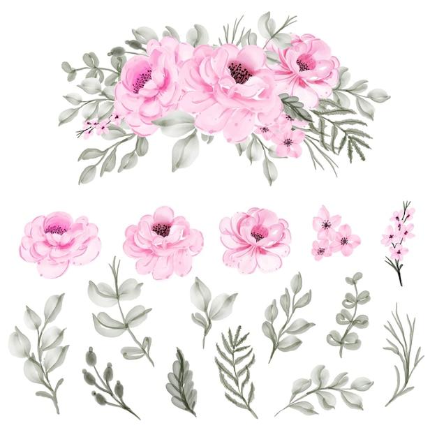 Impostare isolato acquerello fiore rosa e foglia Vettore gratuito