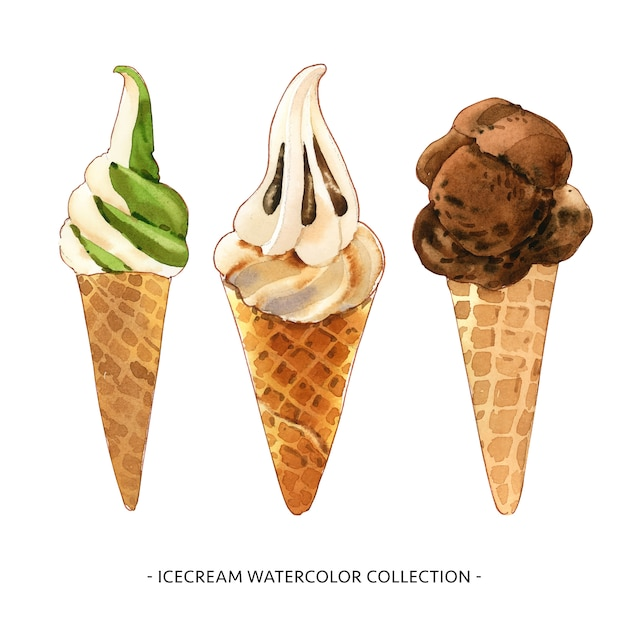 Set of isolated watercolor ice cream cone illustration for decorative use. Free Vector