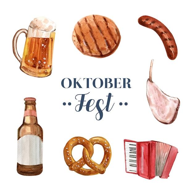 Insieme dell'illustrazione più oktoberfest dell'acquerello isolato Vettore gratuito