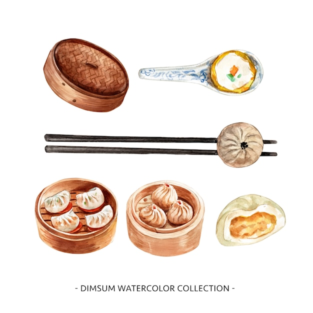 Set of isolated watercolor steamed bun, chopstick, spoon illustration for decorative use. Free Vector