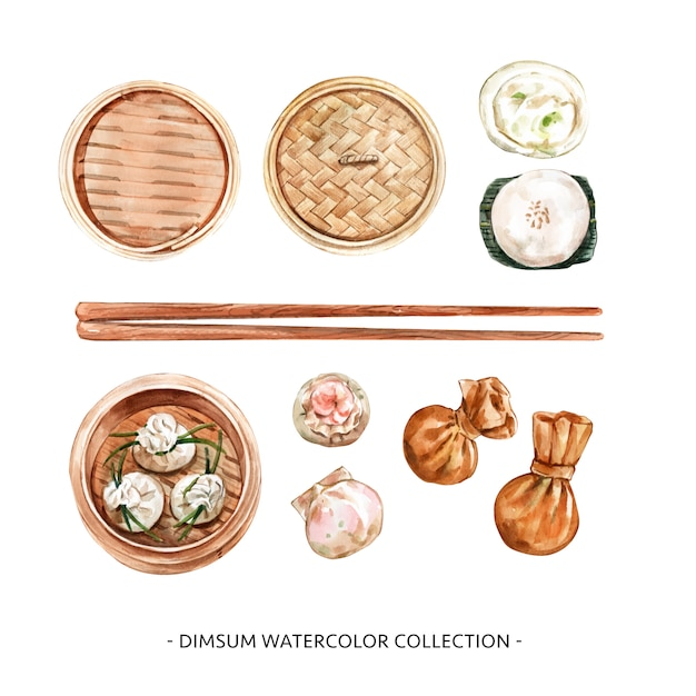 Set of isolated watercolor steamed bun, dumpling illustration for decorative use. Free Vector