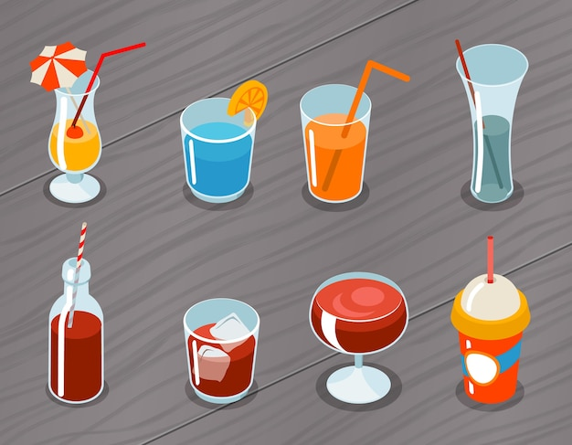 Set of isometric  3d drinks icons. cocktail alcohol, liquid and juice, tropical fresh Free Vector