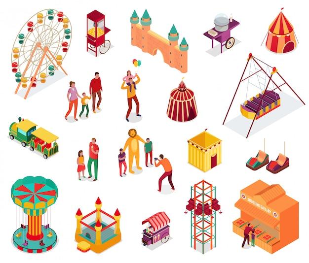 L'insieme degli elementi isometrici del parco di divertimenti con l'alimento della via degli ospiti e le attrazioni hanno isolato l'illustrazione Vettore gratuito
