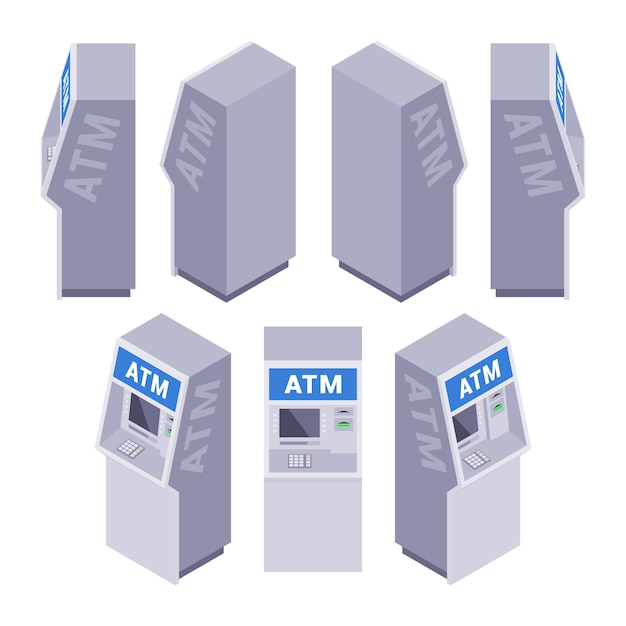 Set of the isometric atms Premium Vector