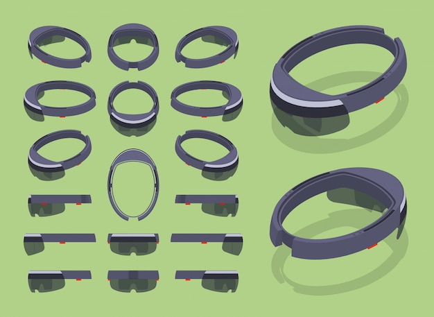 Set of the isometric augmented reality headsets Premium Vector