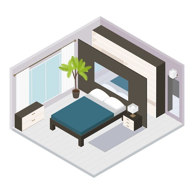 Impostare interni camera da letto isometrica Vettore gratuito