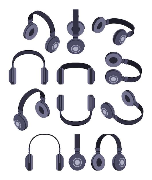Set of the isometric black headphones Premium Vector