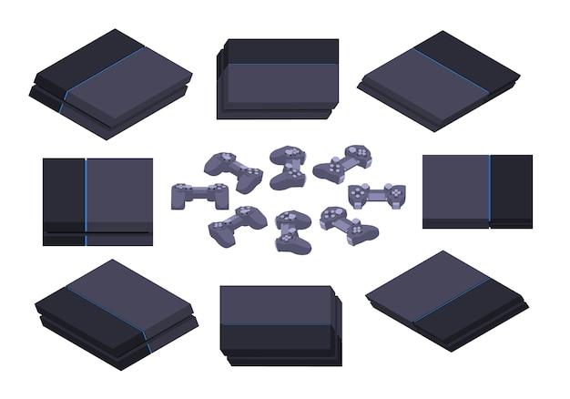 Set of the isometric black nextgen gaming consoles Premium Vector