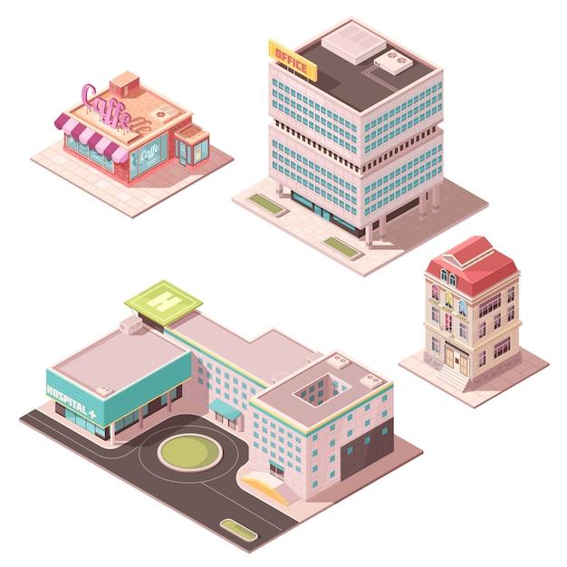 Set of isometric buildings Free Vector