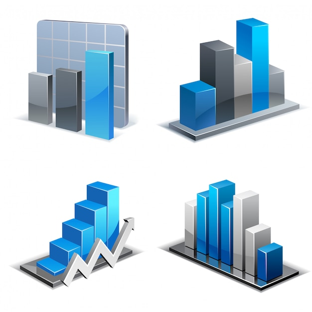 Set of isometric charts and graphs Premium Vector