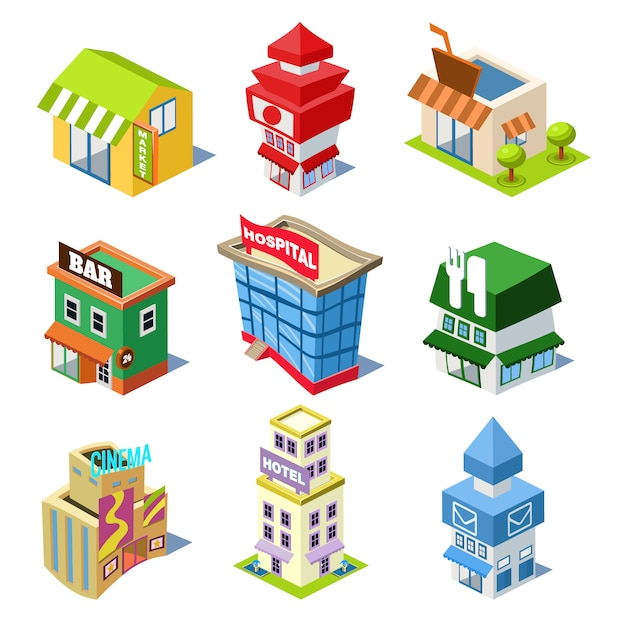 Set of the isometric city buildings and shops Premium Vector