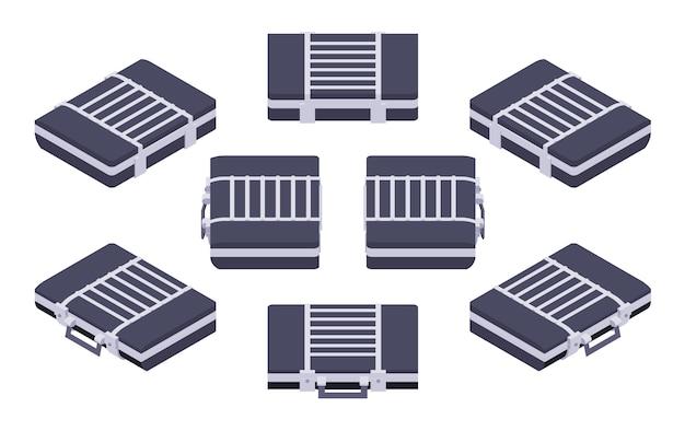 Set of the isometric closed briefcases Premium Vector