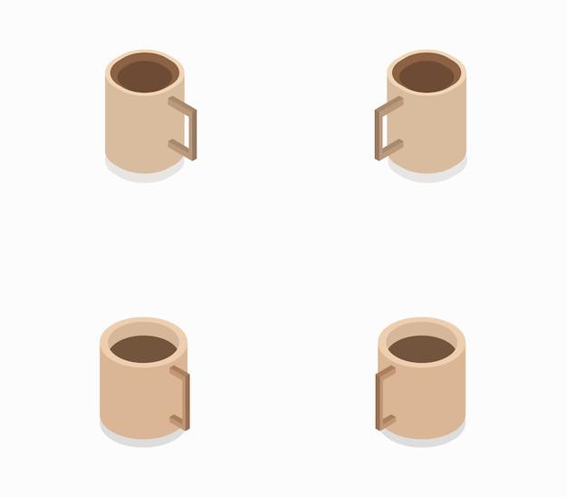 Set of isometric coffee cups Premium Vector