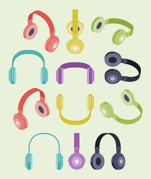 Set of the isometric colored headphones Premium Vector